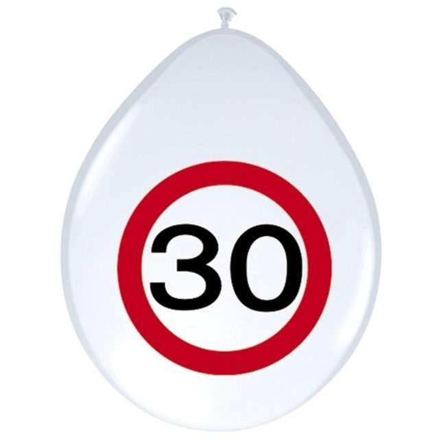 """Balony 12"""", """"Urodziny 30 znak"""", FOLAT, biały pastel, 8 szt"""