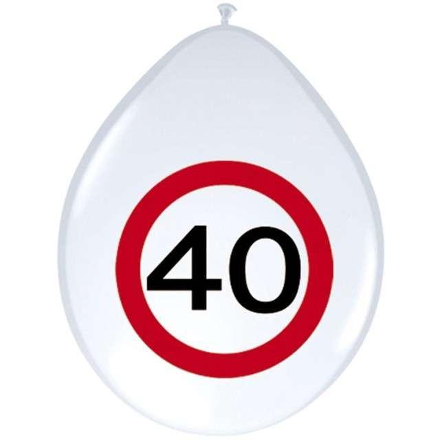 """Balony 12"""", """"Urodziny 40 znak"""", FOLAT, biały pastel, 8 szt"""