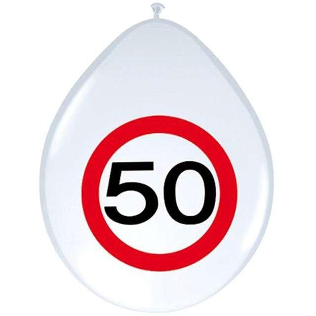 """Balony 12"""", """"Urodziny 50 znak"""", FOLAT, biały pastel, 8 szt"""