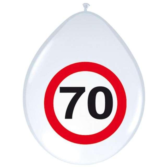 """Balony 12"""", """"Urodziny 70 znak"""", FOLAT, biały pastel, 8 szt"""