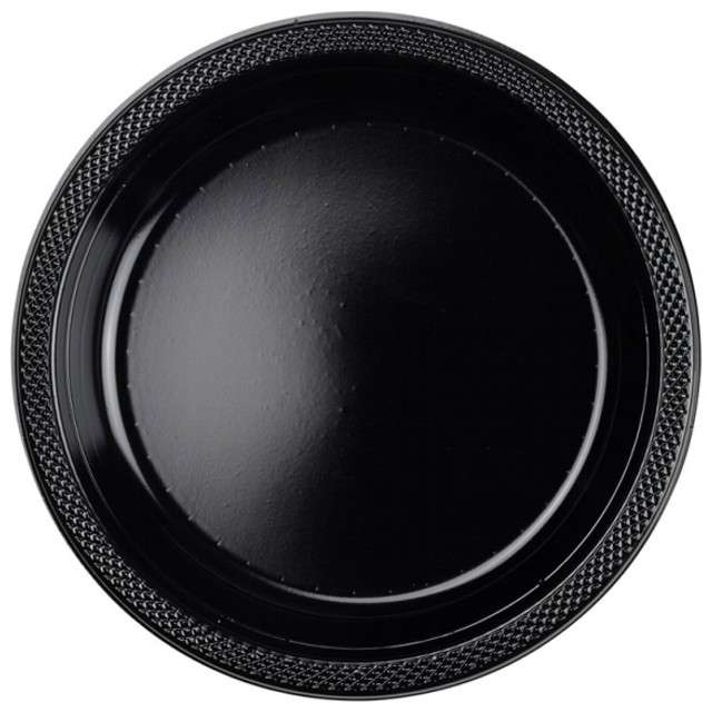 """Talerzyki plastikowe """"Amscan L"""", czarne, 22,8 cm, 10 szt"""