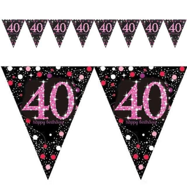 "Baner flagi ""40 Urodziny - Sparkling Celebrations Pink"", AMSCAN, 400 cm"