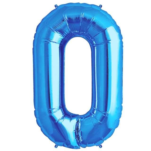 """Balon foliowy cyfra 0, 38"""", OEM, błękitny"""