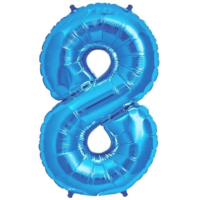 """Balon foliowy cyfra 8, 38"""", OEM, błękitny"""