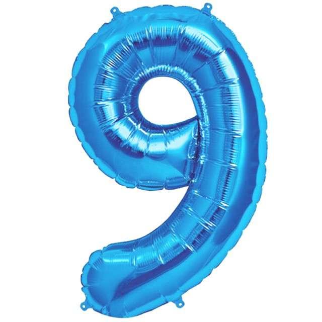 """Balon foliowy cyfra 9, 38"""", OEM, błękitny"""