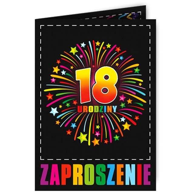 """Zaproszenia z kopertą """"Urodziny 18 fajerwerki"""", 10 szt"""