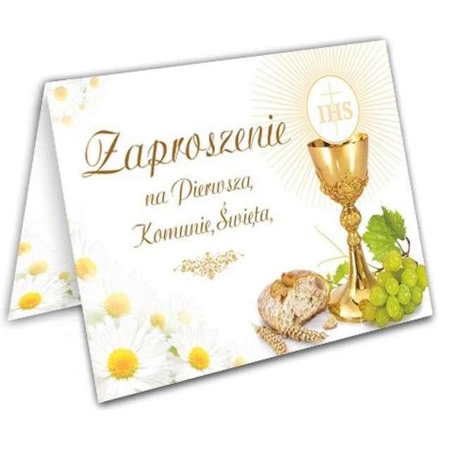 """Zaproszenia na Komunię """"Margaretka chleb i wino"""", VIPER, 10 szt"""