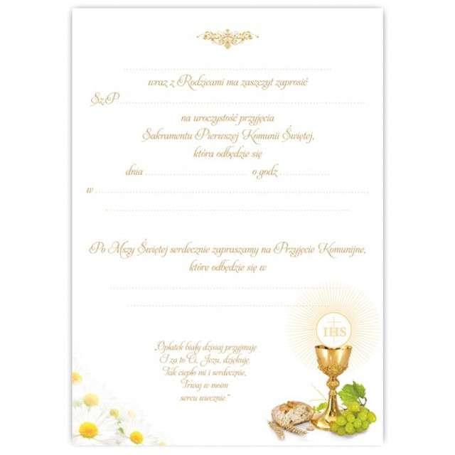 Zaproszenia na Komunię Margaretka chleb i wino VIPER 10 szt