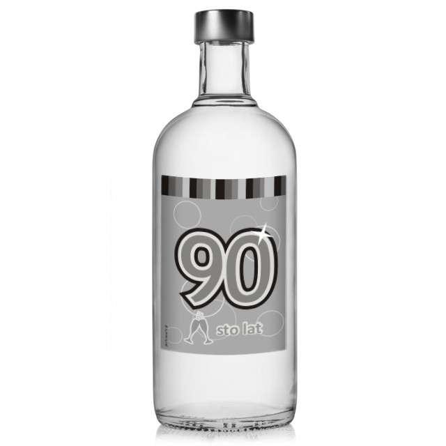 """Etykieta na butelkę """"Urodziny 90 Silver"""", 85x120 mm, 5 szt"""
