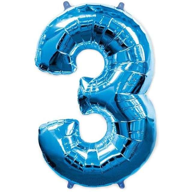 """Balon foliowy cyfra 3, niebieski, FLEXMETAL, 40"""""""
