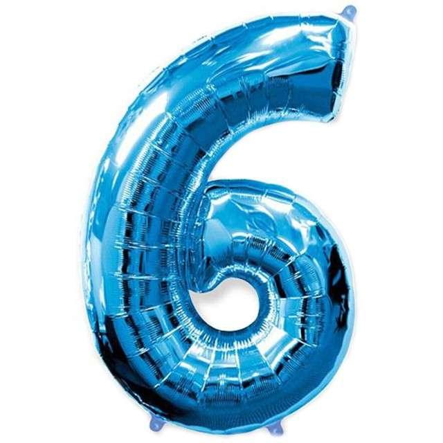 """Balon foliowy cyfra 6, niebieski, FLEXMETAL, 40"""""""