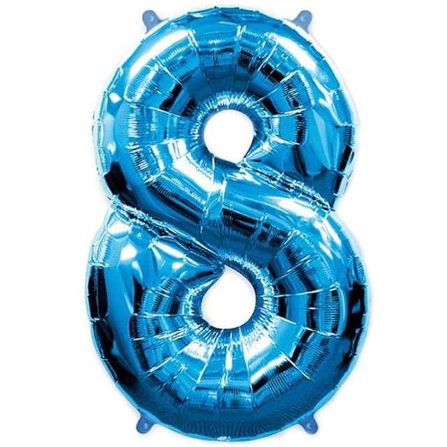 """Balon foliowy cyfra 8, niebieski, FLEXMETAL, 40"""""""