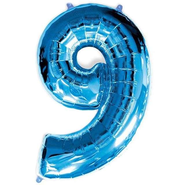 """Balon foliowy cyfra 9, niebieski, FLEXMETAL, 34"""""""