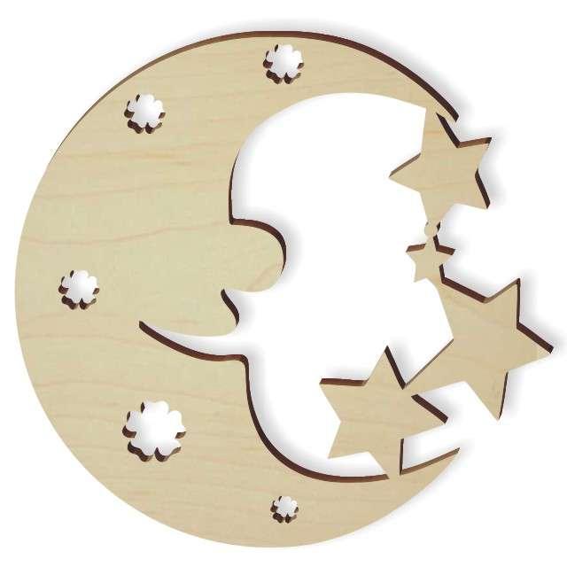 """Zawieszka drewniana """"Księżyc z gwiazdkami"""", 83 X 80 mm, 10 szt"""