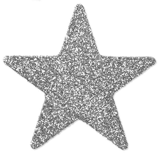 """Dekoracja brokatowa """"Gwiazdka"""", srebrna, 5 cm, 8 szt"""