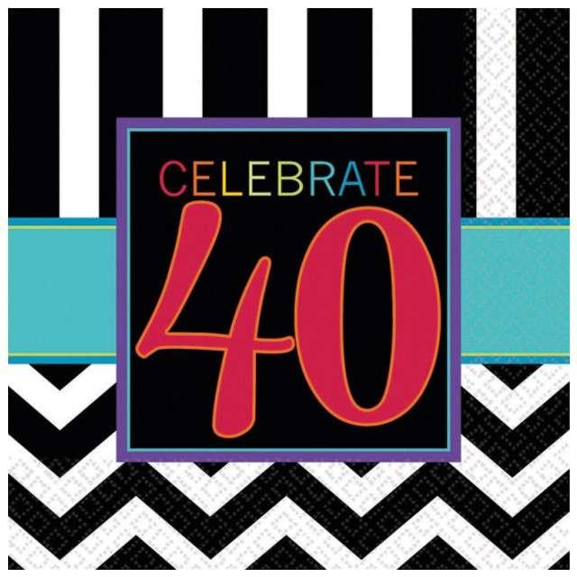 """Serwetki """"40 urodziny Chevron Birthday"""", 33 cm, 16 szt"""