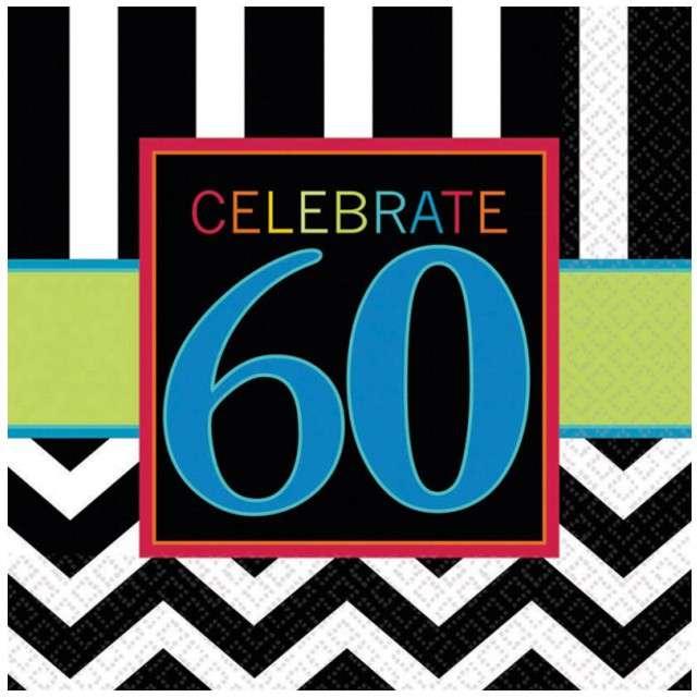 """Serwetki """"60 urodziny Chevron Birthday"""", 33 cm, 16 szt"""