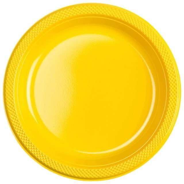 "Talerzyki plastikowe ""Amscan L"", żółte, 22,8 cm, 10 szt"