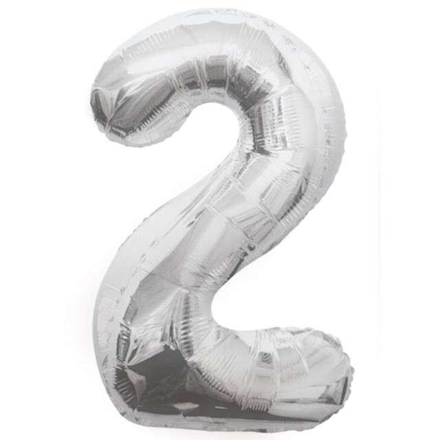 """Balon foliowy cyfra 2, srebrny, UNIQUE, 34"""""""