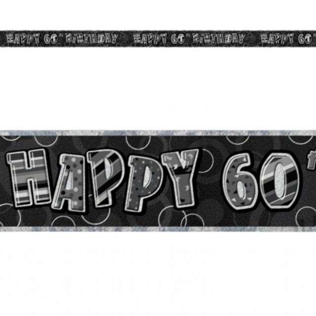 """Baner taśma """"Urodziny 60"""", czarny glitz, UNIQUE, 365 cm"""