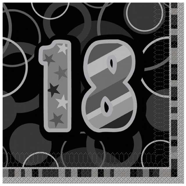 "Serwetki ""18 Glitz Black"", 33 cm, UNIQUE, 16 szt"