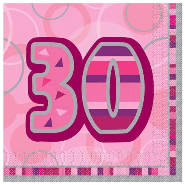 "Serwetki ""30 Glitz Pink"", 33 cm, UNIQUE, 16 szt"