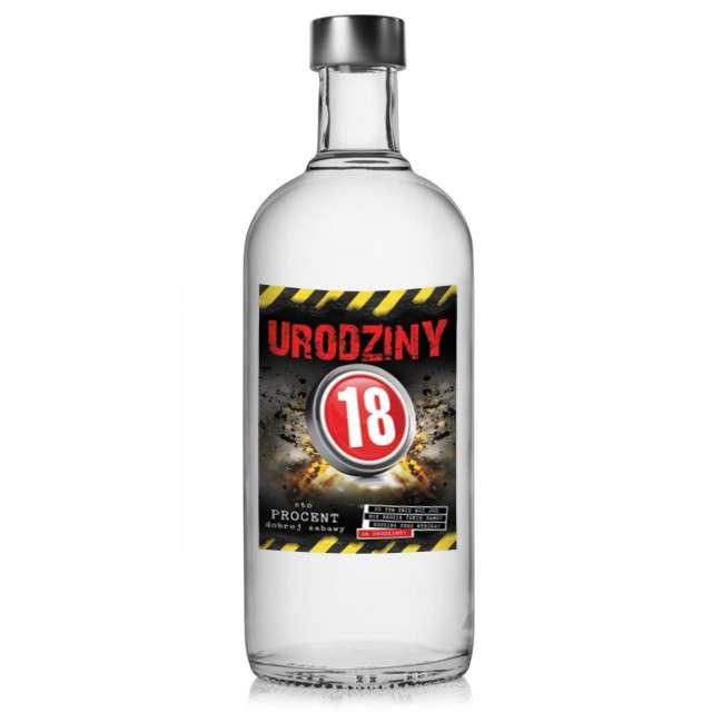 """Etykieta na butelkę """"Urodziny 18 Danger"""", 95x125 mm, 25 szt"""