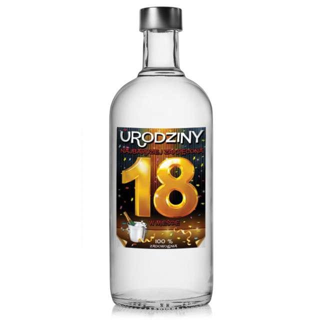 """Etykieta na butelkę """"Urodziny 18 Szampan"""", 95x125 mm, 25 szt"""