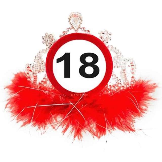 """Tiara """"Urodziny 18 znak"""", srebrno czerwona"""