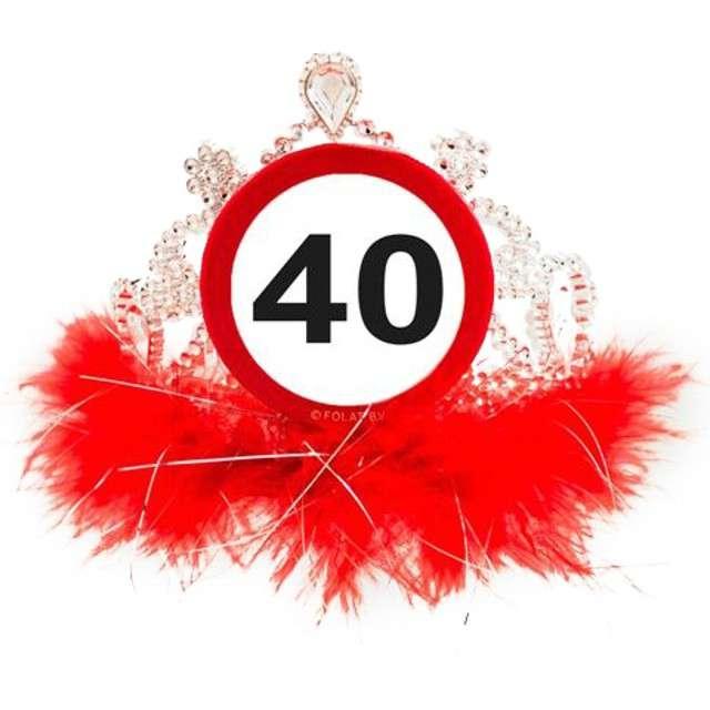 """Tiara """"Urodziny 40 znak"""", srebrno czerwona"""
