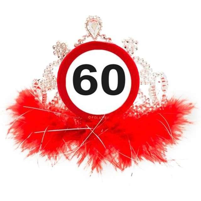 """Tiara """"Urodziny 60 znak"""", srebrno czerwona"""