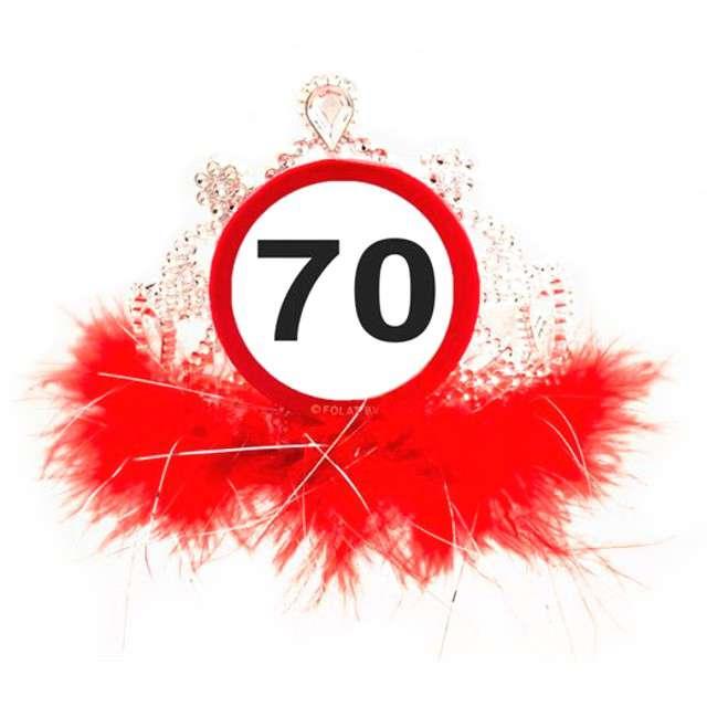 """Tiara """"Urodziny 70 znak"""", srebrno czerwona"""