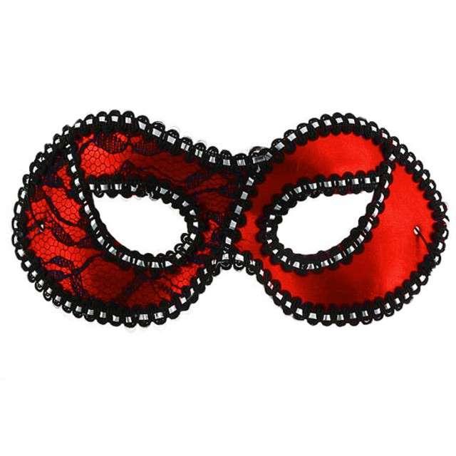 """Maska karnawałowa """"Dama z koronką"""", czerwona"""