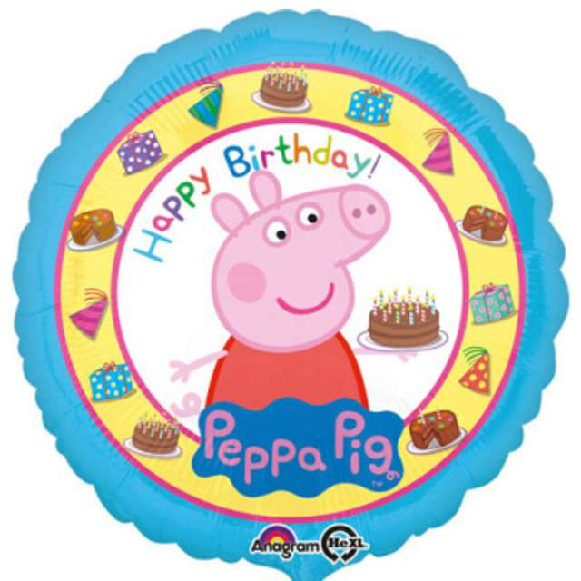 "Balon foliowy ""Happy Birthday Świnka Peppa"", AMSCAN, 18"" RND"