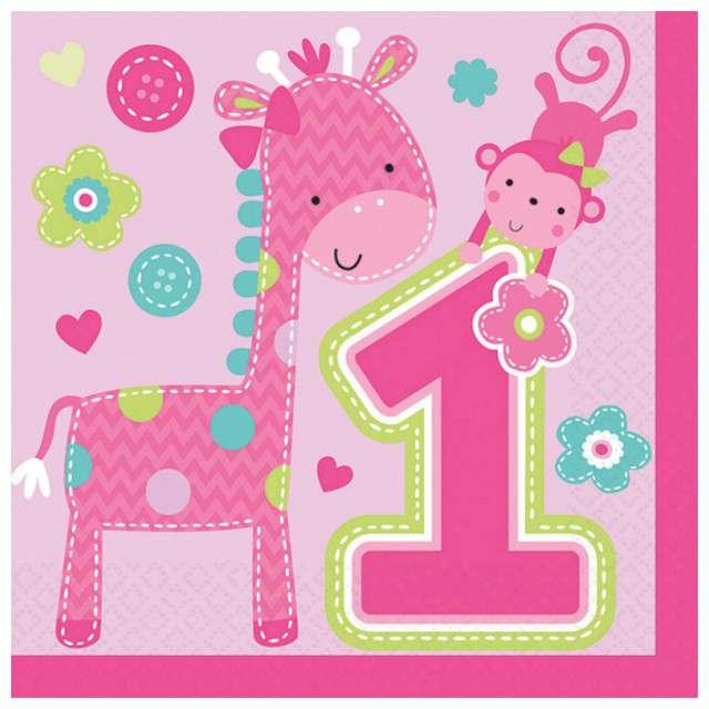 """Serwetki """"Roczek One Wild Girl"""", różowe, 33 cm, 16 szt"""