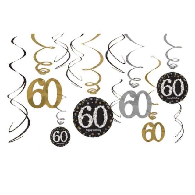 """Świderki wiszące """"Urodziny 60"""", Gold Celebration, AMSCAN, 12 szt"""
