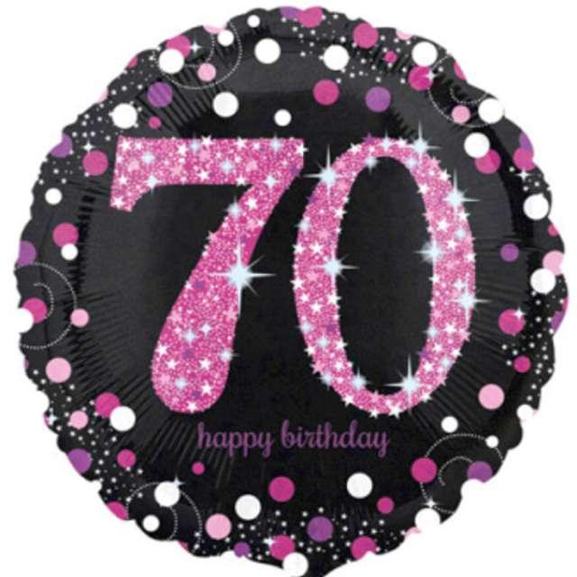 """Balon foliowy """"Urodziny 70"""", Sparkling Celebrations Pink, AMSCAN, 18"""" CIR"""
