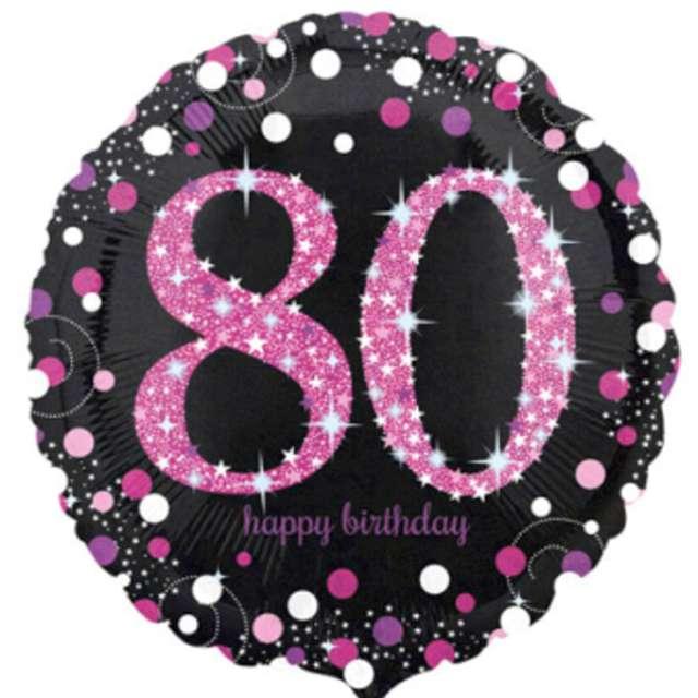 """Balon foliowy """"Urodziny 80"""", Sparkling Celebrations Pink, AMSCAN, 18"""" CIR"""