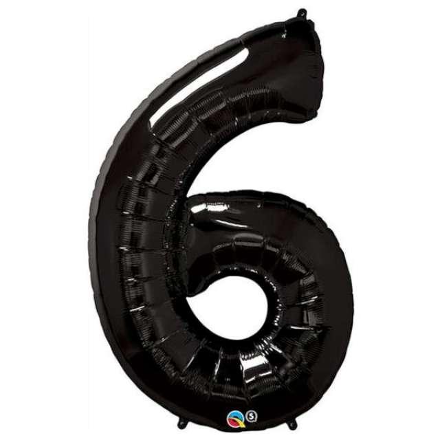 "Balon foliowy cyfra 6, czarny, QUALATEX, 34"""