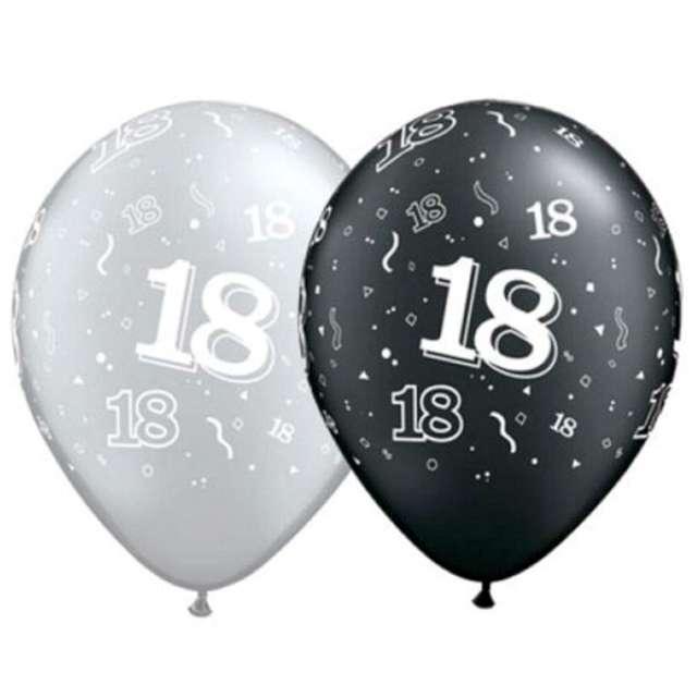"""Balony """"18"""", pastel czarny, srebrny mix, QUALATEX, 11"""", 25 szt"""