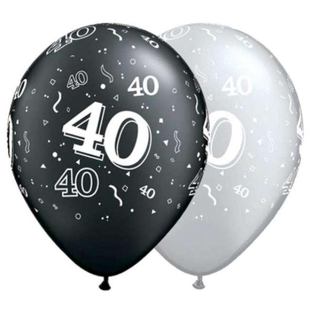 """Balony """"40"""", pastel czarny, srebrny mix, QUALATEX, 11"""", 25 szt"""