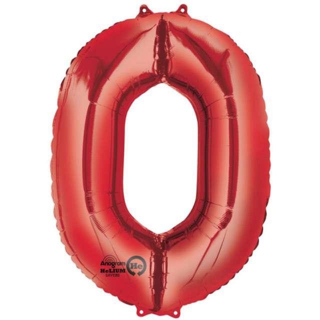 """Balon foliowy cyfra 0, czerwony, AMSCAN, 34"""""""
