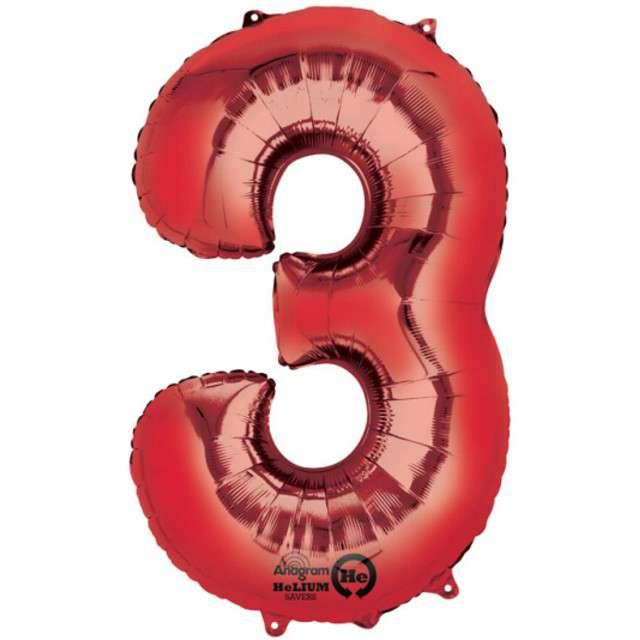 """Balon foliowy cyfra 3, 34"""", AMSCAN, czerwona"""