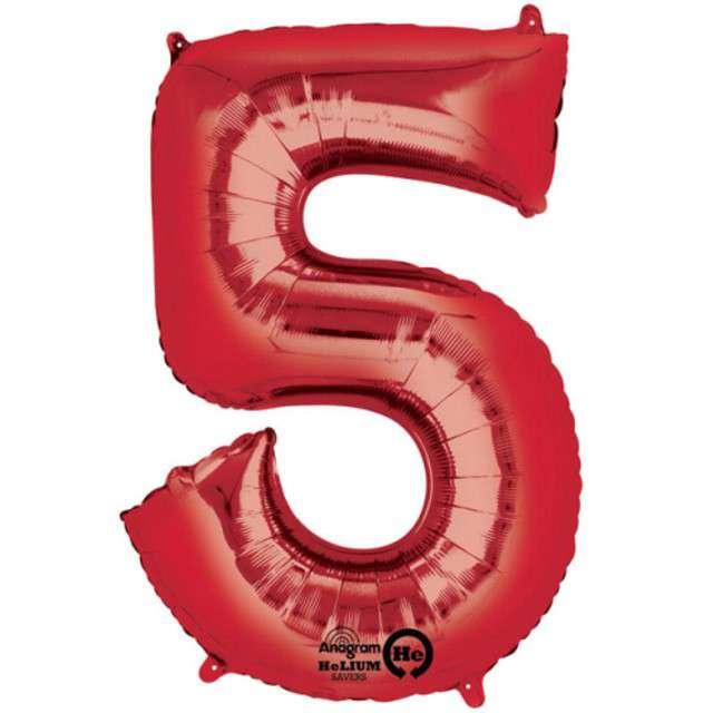 """Balon foliowy cyfra 5, 34"""", AMSCAN, czerwona"""