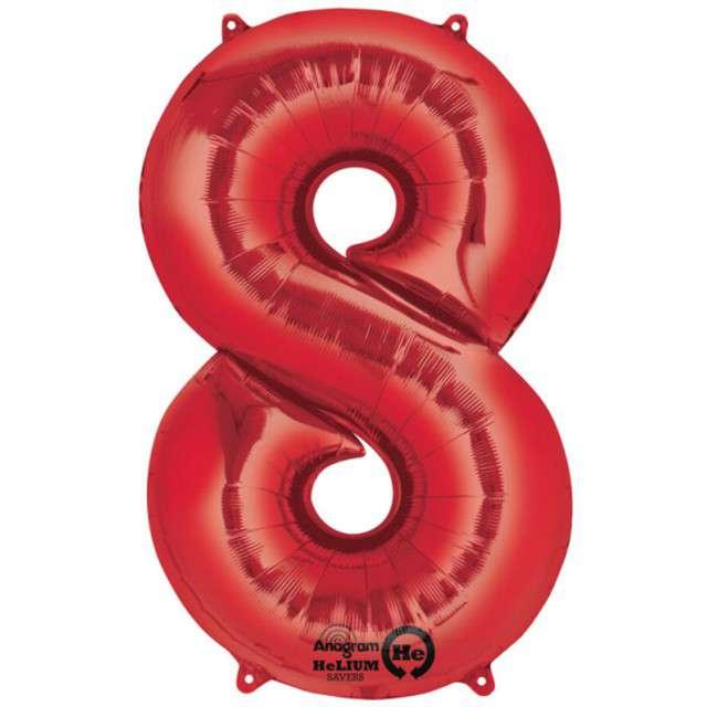 """Balon foliowy cyfra 8, 34"""", AMSCAN, czerwona"""