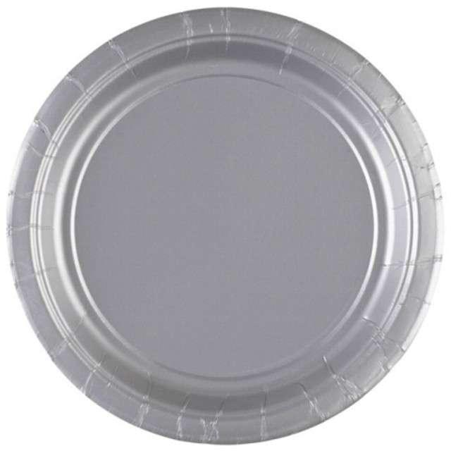 """Talerzyki papierowe """"Premium AMSCAN S"""", srebrne, 17,7 cm, 8 szt"""