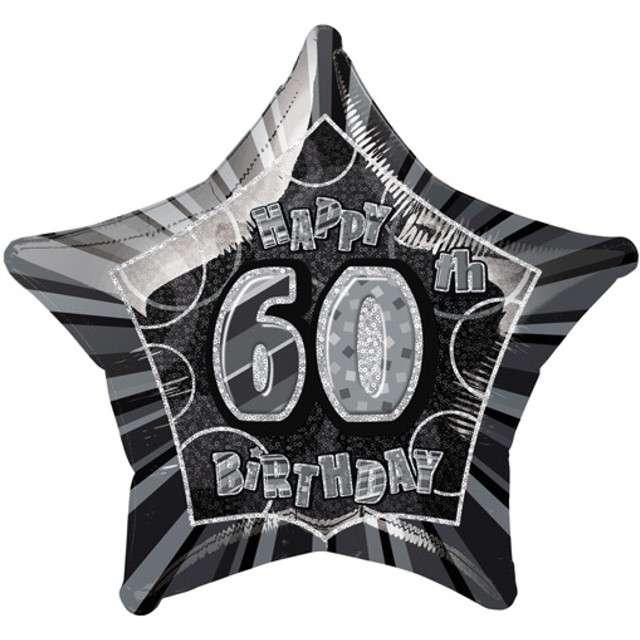 """Balon foliowy """"Urodziny 60"""", czarny, UNIQUE, 20"""" STR"""