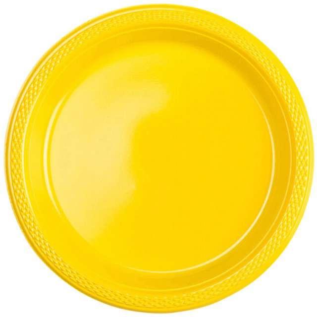 """Talerzyki plastikowe """"Amscan M"""", żółte, 17,7 cm, 10 szt"""