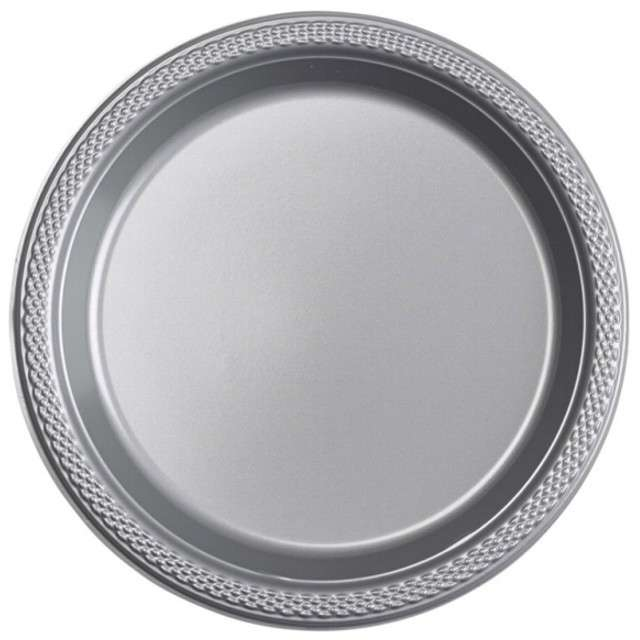 "Talerzyki plastikowe ""Amscan M"", srebrne, 17,7 cm, 10 szt"