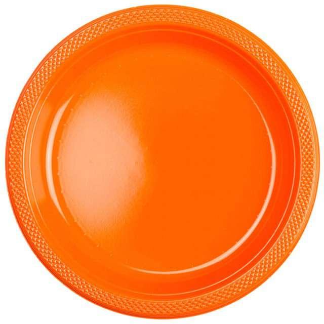 """Talerzyki plastikowe """"Amscan L"""", pomarańczowe, 22,8 cm, 10 szt"""
